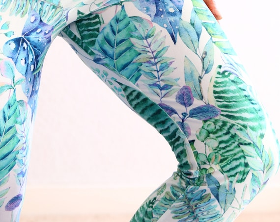 WATERCOLOUR JUNGLE LEGGINGS - High waist Active Wear - Pilates - Festival Print - Yoga Pants - Yogi Joggers - Lounge & Home wear - Casual