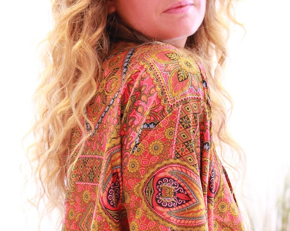 AUTUMN FIRE CROP - Ruby Sparrow bell sleeve - Vintage Fabric - Retro - Bohemian - Kimono - Up cycle - Summer - Kaftan - Silk Blend Crop Top