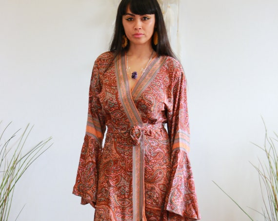 FLEETWOOD WRAP DRESS - Wrap around dress - Kimono Kaftan Dress - Maxi summer dress - Stevie Nicks Style - Floaty Vintage Gunne Sax Style