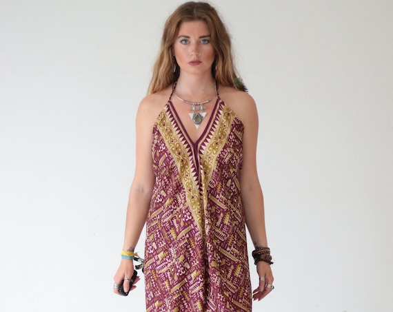 GYPSY SOUL JUMPSUIT - Summer - Backless - Festival All in one - Handmade - Vintage Sari fabric - Harem - Halterneck - Upcycled - Reworked