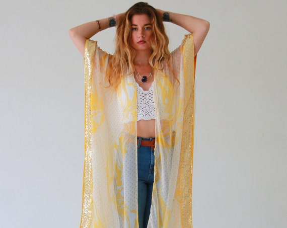 RUBY SPARROW KIMONO - Vintage Fabric - Up-cycled kaftan - Festival Jacket - Summer - Beach - Holiday - Boho Wedding - Silk Cover up - Spring