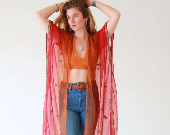 INDIAN SUNRISE KIMONO - Embellished Vintage kaftan - Summer Holiday - Boho Beach wear - Wedding - Sari silk jacket - 60's 70's hippie - Eco