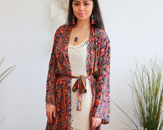 FULL LENGTH KIMONO - Long Flowing Cape - Cover Up - Kaftan - Vintage - Dressing Gown - Wrap Around Dress - House Coat - 60's Gypsy