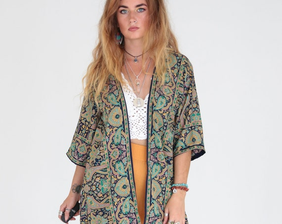 STEVIE NICKS KIMONO - Waterfall Cover Up - Asymmetric Kaftan - Vintage 60's Robe - 70's Retro Clothing - Summer Jacket - Festival Kimono