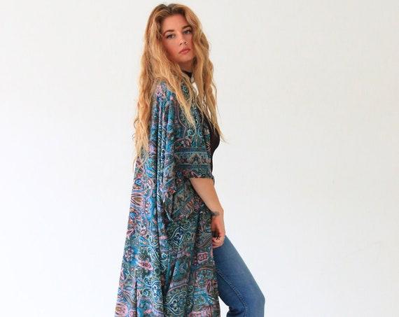 RUBY SPARROW KIMONO - Luxury Paisley Kimono - Full length Jacket - Cape - Cover Up - Kaftan - Vintage inspired Gunne Sax Coat - Aztec Coat