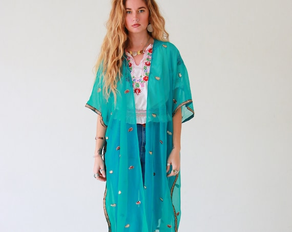 OCEAN GODDESS KIMONO - Vintage - Up-cycled kaftan - Festival wear - Summer - Vacation - Holiday - Boho - Wedding - Eco fashion - Spring Wear