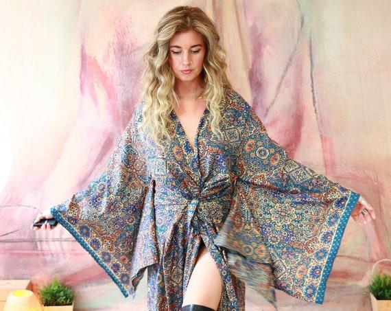 BLUE GOLD KIMONO - Huge Bell sleeve Dress - Kimono Jacket - Kaftan - Floor length maxi - Dress Jacket - Gold Print Sari Fabric - Batwing