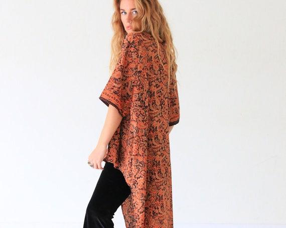 WATERFALL SILK KIMONO - Asymmetric Kaftan - Vintage 60's Robe - 70's Clothing - Summer Jacket - Festival - Beach Wear - All season Cape