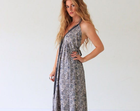 BACKLESS PAISLEY DRESS - Vacation - Vintage Summer dress - Indian - Up cycle - Bohemian witch - Maxi dress - Holiday - Winter Evening Dress