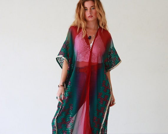 LUXURY UPCYCLED KIMONO - Embellished Vintage Fabric - Festival Kaftan - Summer Vacation - Holiday - Boho - Wedding - Eco Fashion - Cover Up