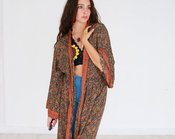 MAXI KIMONO DRESS - Silk Cardigan - Cover Up - Bohemian Beach  Kaftan - Lounge Wear - Wrap Around Top - Lingerie - Summer Maxi Beach Dress