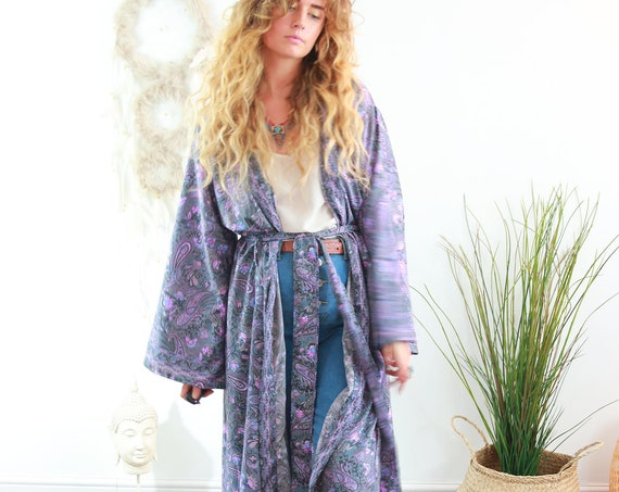 GODESS KIMONO - Luxury Coat - Full length Jacket - Cape - Cover Up - Ruby Sparrow Kaftan - Vintage - Dressing Gown - Wrap Around Maxi Dress
