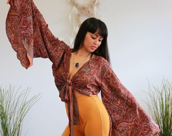 RETRO BELL SLEEVE - Vintage Indian Silk - Hippie - Retro - 70s - 60'S - Recycled Silk - Kimono - Cape - Kaftan - Tie Dye Crop Top - Flare