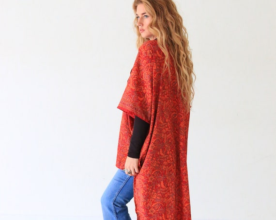 FIRE RED KIMONO - Ruby Sparrow - Vintage Style Jacket - 70's Style - 60's Summer Top - Festival Wear - All season - Bohemian Cover up - Gift
