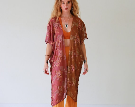 RUBY SPARROW KAFTAN - Embellished - Vintage Kimono - Stevie Nicks  Summer - Vacation - Holiday - Boho - Wedding - Sari silk jacket - Ethical