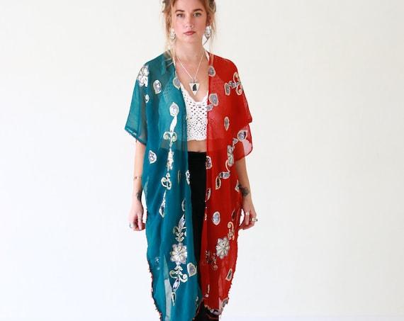BOHO 2 TONE KIMONO - Indian Silk Kaftan - Batwing Jacket - Beach - Summer Cover up - Vintage Sari - Up cycle - 70's Hippie Style - Paisley