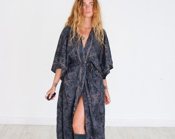 RUBY SPARROW KIMONO - Luxury Paisley Kimono - Full length Jacket - Cape - Cover Up - Kaftan - Vintage inspired Dressing Gown - Wrap Dress