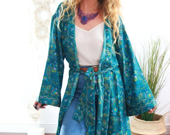 MAXI KAFTAN DRESS - Long Dress Jacket - Cover Up - Kaftan - Vintage 70's, 60's , 50's - Dressing Gown - Wrap Around - House Coat - Gunne Sax