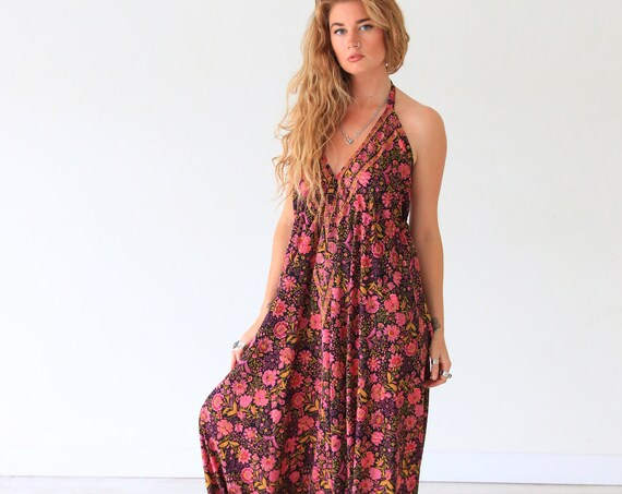 RUBY SPARROW JUMPSUIT - Hippie Jumpsuit - Soft Silk - Vintage Style Halter neck Playsuit - All season - Thick Fabric - Travel outfit Style