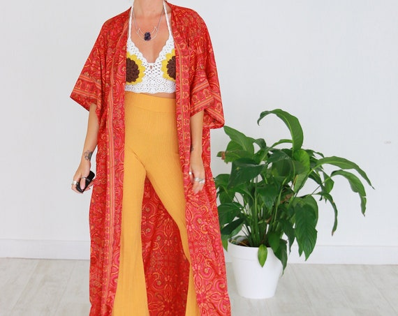 RHUBARB SKY KIMONO - Long Flowing Cape - Cover Up - Kaftan - Vintage - Dressing Gown - Wrap Around Dress - House Coat - 60's Gypsy