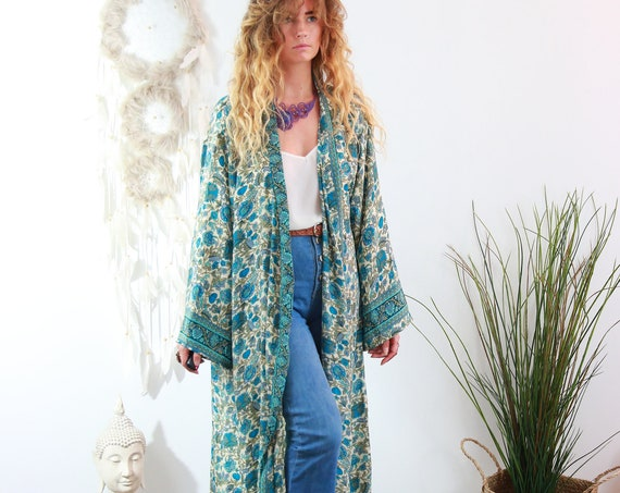 RUBY SPARROW KIMONO - Luxury Paisley Kimono - Full length Jacket - Cape - Cover Up - Kaftan - Vintage inspired Dressing Gown - Wrap Dress