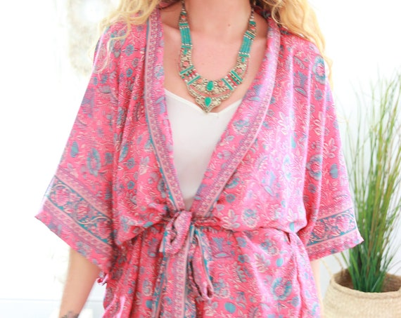 SKY PINK KIMONO - Recycled silk jacket Kaftan - Vacation - Recycled Fabric - Summer Jacket - Autumn - Wrap Top - Sari Top - Peasant cardigan