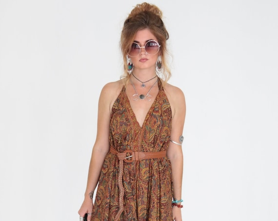 WIDE LEG JUMPSUIT - Earth Paisley - Vintage Silk - Festival - Backless Summer Dress - Casual - Bespoke - Travel - Maxi Playsuit - Harem
