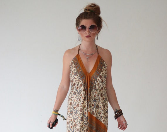 INDIAN DREAM JUMPSUIT - Wedding - Handmade - Vintage - Hippie - Backless - Up cycle - All in one - Harem - Sari Silk - Summer - Bohemian