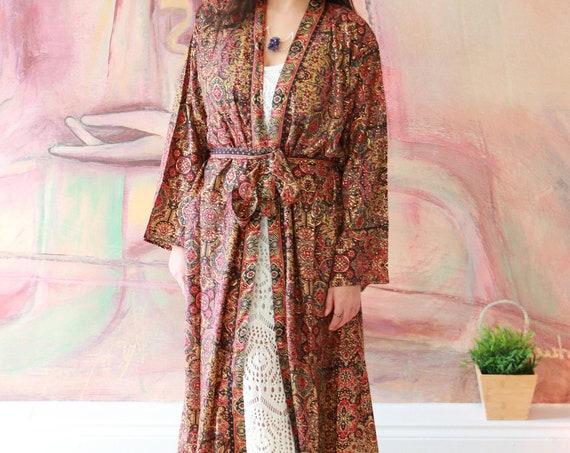 GODDESS KIMONO JACKET - Gold print fabric - Luxury Full length Coat - Cape - Ruby Sparrow Kaftan - Dressing Gown - Wrap Around cover up