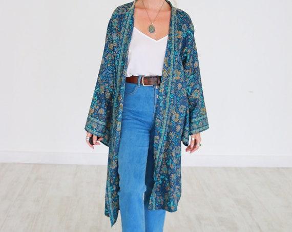 MID LENGTH KAFTAN - Indian Silk Cardigan - Cover Up - Bohemian Beach  Kaftan - Lounge Dress - Wrap Around Kimono - Lingerie - Summer Jacket