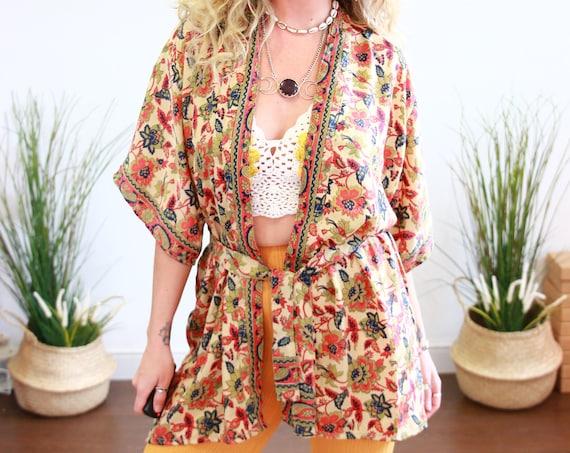 LUXURY PAISLEY CROP - Ruby Sparrow Bell sleeve - Vintage Fabric - Peasant Top - Up cycle kaftan - Crop top - Hippie - Winter Wrap - Tie Top