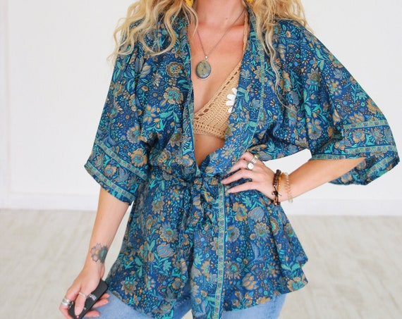 RUBY SPARROW CROP - Bohemian Silk Kaftan - Vacation Top - Slow Fashion - Wedding Outfit - Summer - Autumn Shawl - Wrap Top - Indian Jacket