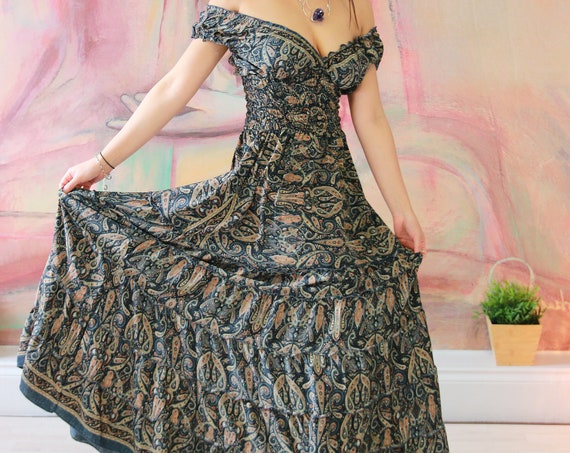 BLACK ESMERLEDA DRESS - Folk festival dress - 60's hippie - Gunne sax inspired - Peasant dress - Flamenco - Gypsy - Prom - Breast feeding