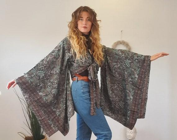 BELLA WRAP KIMONO - Xl Bell sleeve - Batwing Kaftan - Vintage Silk - 60's Kimono - 70's Bohemian Crop - Gypsy Wrap Dress - Stevie Nicks Top