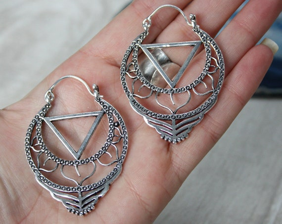 XL TRIBAL EARRINGS -  Sacred Geometry Mandala Earrings - Lotus Flower Silver Plated Earrings - Flower of Life Triangle - Unisex Hippie Gift