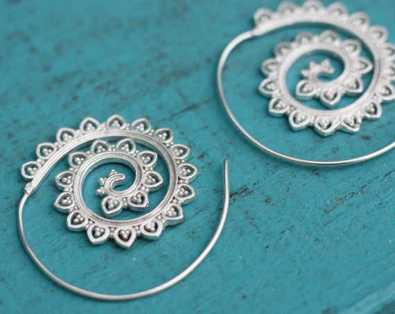 TRIBAL TWIST EARRINGS - Statement Tribal Twist Earrings - Silver Earrings - Sacred Geometry inspired - Mandala Jewelry - Flower jewellery