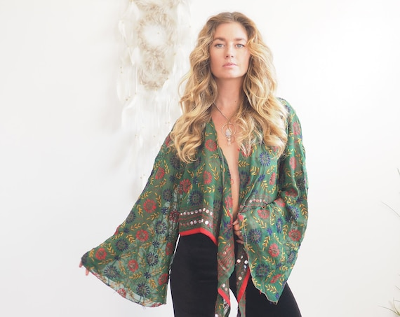 FOREST GREEN TOP - Sheer bell sleeve - Recycled Fabric - Vintage Kimono - Heavily embroidered - Embellished - Sequin jacket - 70's Hippie