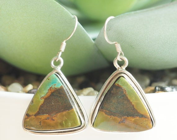 MOTTLED TURQUOISE EARRINGS - Rare 925 Silver Gemstone - Navajo Earrings - Natural Crystal - Vintage style jewellery - December Birthstone