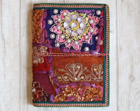 PURPLE SARI JOURNAL - Indian sari notebook - Student - Journal - Back to school - Sketch book - Diary - Planner - Stocking Filler Scrapbook