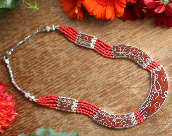 VINTAGE CORAL NECKLACE - Xl - Nepali - Buddhist - Tibetan Jewellery - Semi Precious - Gift - Antique Style Nepalese - Gemstone Mosaic