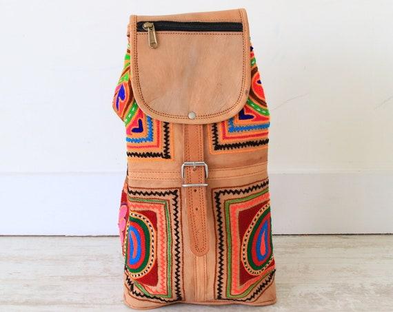 VINTAGE LEATHER RUCKSACK - Embroidered Hippie bag - Vintage Backpack - Boho - handmade festival bag - Aztec Carpet Bag - Recycled leather