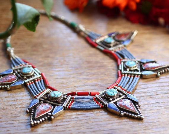 VINTAGE TIBETAN NECKLACE - Statement Coral & Turquoise Necklace - Nepalese - Buddhist - Semi Precious - Birthstone - Crystal gift - Bold