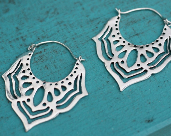 LARGE TRIBAL EARRINGS - Ethnic jewelry - Tribal - Sacred Geometry - Lotus Flower - Silver Plated - Flower power earrings - Laser cut Gift