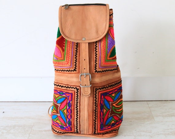 VINTAGE EMBROIDERED BACKPACK - Leather bag - Hippie Bohemian rucksack - Back to school - Festival - Aztec - 60's 70's Retro Bag - Student