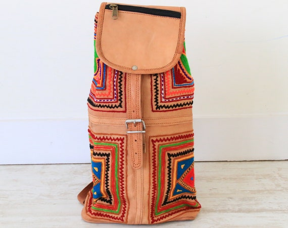 RAINBOW LEATHER RUCKSACK - Embroidered bag - Vintage Hippie Backpack - Student Gift - Traveller - Backpacker - Festival Bag - Yoga Bag Gift