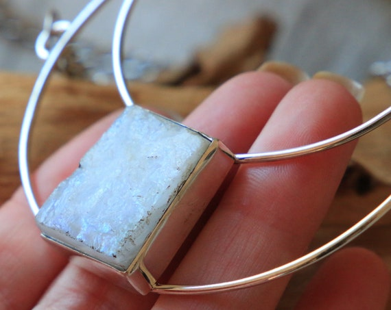 SQUARE MOONSTONE NECKLACE - Iridescent Moon Crystal - Sterling Silver - Bespoke Rare Moon Necklace - Birth Moon Jewellery - Natural Stone