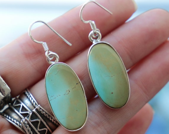 RARE TURQUOISE EARRINGS - Natural Turquoise 925 Sterling Silver Earrings - Vintage - Retro - Duck egg - Birthstone - Handmade Gift - Summer