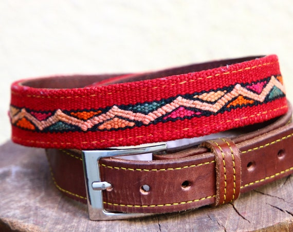 KILIM LEATHER BELT - Vintage Carpet - Moroccan leather belt - Up-cycled - Recycled Rug - Aztec Navajo - Leather Hippie style Accessory - 60s