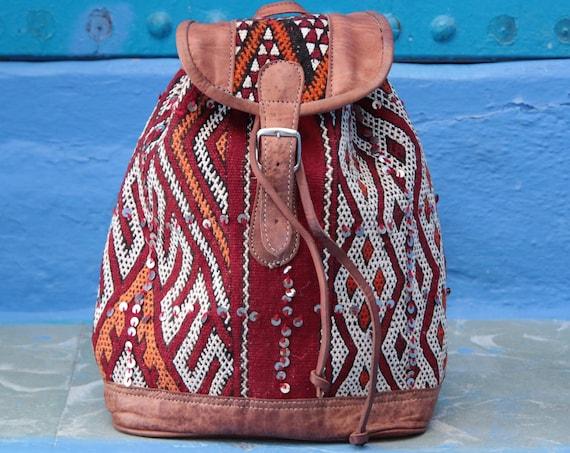 LARGE KILIM RUCKSACK - Vintage rucksack - Hippie - Boho Backpack - Aztec rucksack - Moroccan - Leather rucksack - Student Gift - 70's Retro