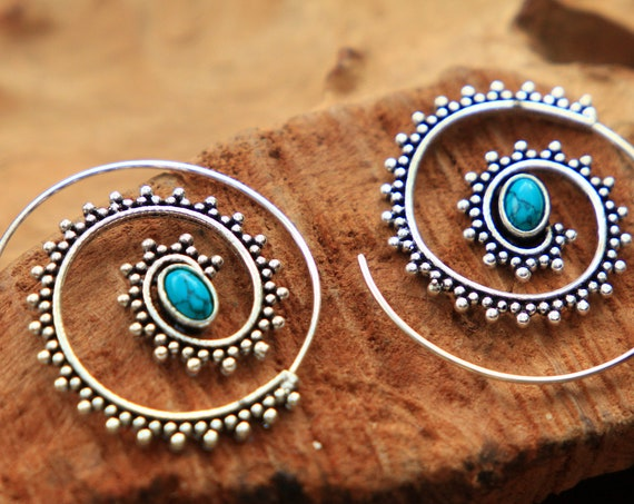TURQUOISE SPIRAL EARRINGS - Tribal Gemstone Earrings - Twist Hook Earrings - Sacred Geometry Inspired - Ethnic Jewellery - Crystal Power
